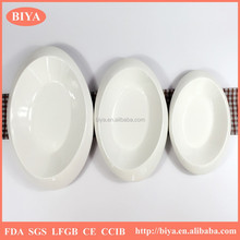 Pure white porcelain plate western-style durable porcelain hotel tableware ceramic oval fish dish plate new denier