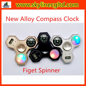 Newest Alloy Compass Clock LED Light Hand spinner Fidget Spinner Finger Spinner Toys