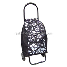 RW6208 China Shopping Bag Factory Supply Portable Folding Trolley Shopping Bag With Wheels In Black Color With Flower Print