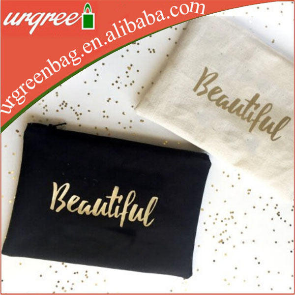 Golden Gold Printing Cosmetic Pouch Clutch Makeup Bag
