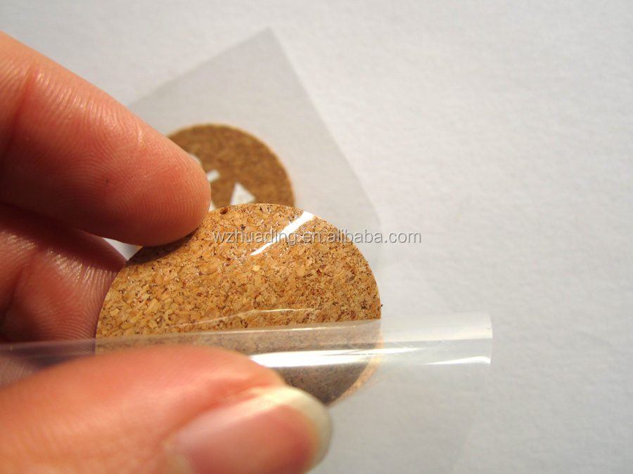 Customized 3d cork wood label sticker printing, home decoration