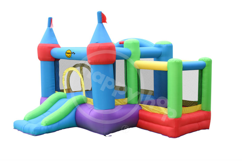 happyhop Inflatable Kids Bouncer Pools with Slide -9112A Castle Bouncer with farmyard Ballpit
