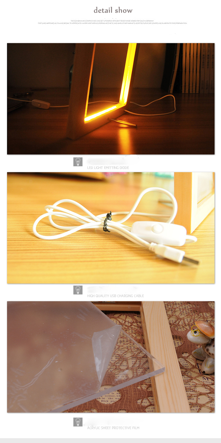 China supplier 3D stereo strange LED lights pine photo frame I love you creative night light romantic gifts