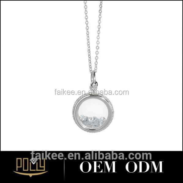 925 silver artificial diamond round ring pendant for women magatama pendant