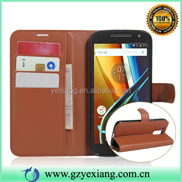 Luxury PU Leather Wallet Card Slot Flip Cover Case For Moto G4 Plus In Stock