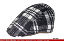 mens checked wool newsboy beret hat