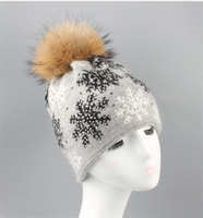 Winter Warm Rabbit Cony Hair Hats With Real Fur Pom Pom Skullies Beanie For Women