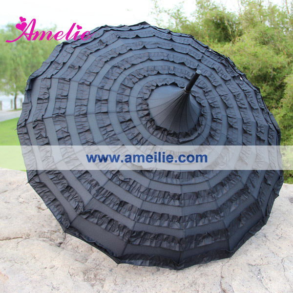 A0406 Unique black pagoda wedding rain umbrella