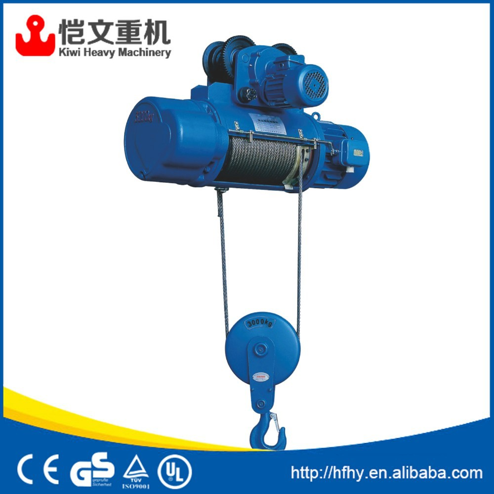 CD type small electric wire rope hoist with remote control and electric trolley