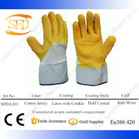 HOT! Yellow latex half coating on cotton garden gloves working gloves