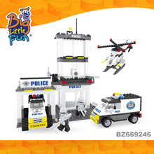 2017 new products police station creative building brick toys for kids educational