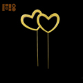 NO rhinestone gold plated double heart shape metal cake toppers