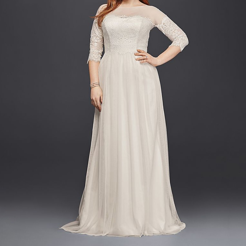 Applique Plus Size Tulle Robe De Mariage Wedding Dress with Sheer Sleeves