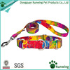 Best selling products nylon print dog collar leash martingale collar leash