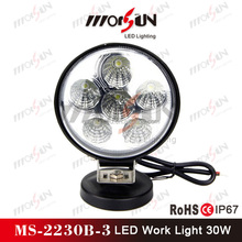Morsun 2016 auto part 30W led work light, cheap price round 30w led worklights for off road, ATV, heavy duty vehicles