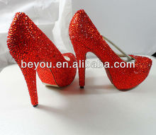 2013 New Red Women's Party Shoes With Czech Crystal Handmade