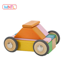 MNTL 24 Piece Wood Toy Magnetic Blocks Toys Educational Building Tiles 2017 hot new products