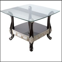 living room glass top silver base wood coffee table