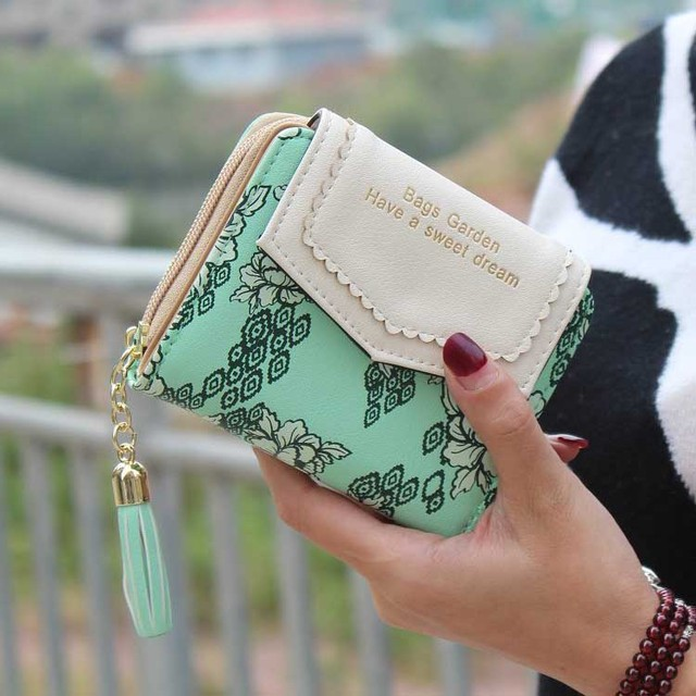 Vintage  Flower  Women  Wallet Short Design Floral  Purse  Zipper Girl Lady Cute Tassel Wallets