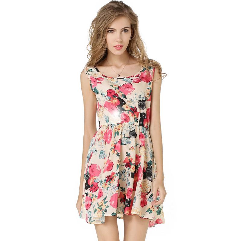 Elegant Summer Dress 2016 Women Sexy Lace Up V Neck Sleeveless Casual Mini