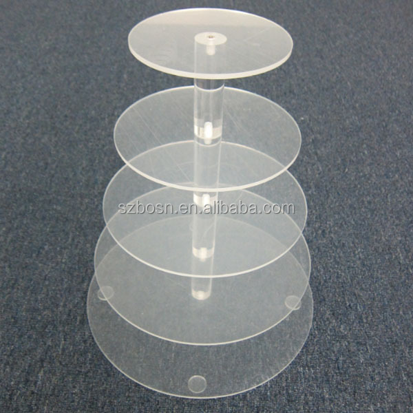 New Round Crystal Clear Acrylic Cupcake Stand Wedding Display Cake Tower 5 Tier