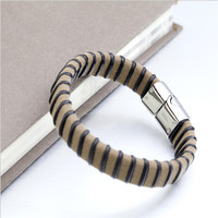 Yiwu Aceon Stainless Steel leather men bracelet new design paypal accepted online stores
