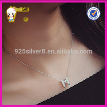 Pretty & Fashion 925 Sterling silver necklace H letter shapes pave stone pendant women necklace
