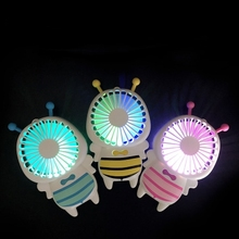 The new small bee fan is portable with super thin night light electric fan mini usb fan with kc certification.