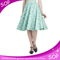 Latest printing ladies fancy midi skirts high waist elegant women umbrella skirt