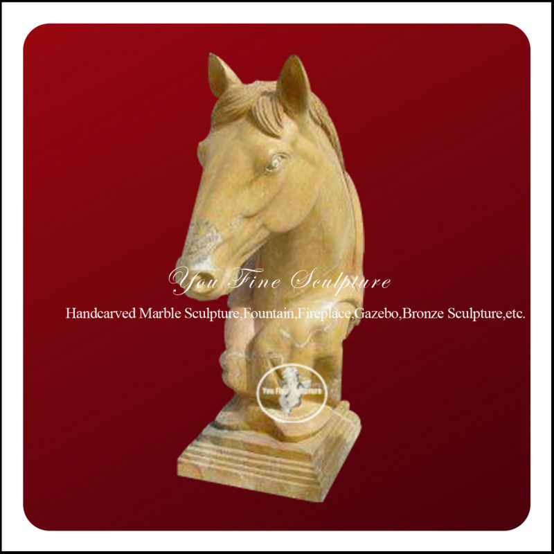 Marble horse head sculpture