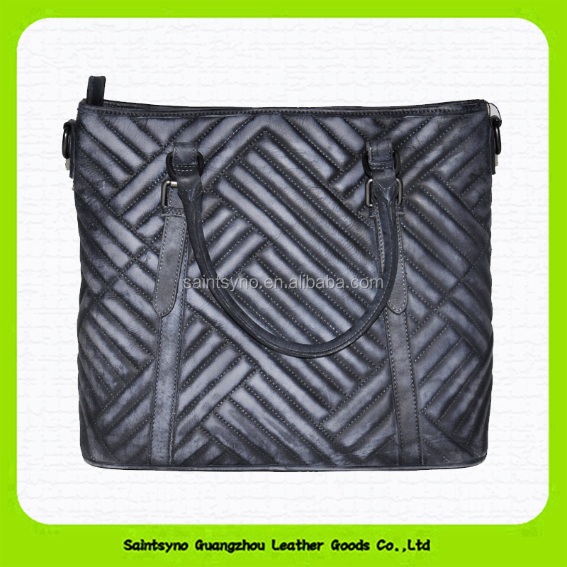 Vintage cross woven pattern real leather handbag for women 15056