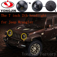 For jeep liberty wrangler 65w round led light 7 led headlight with blue halo
