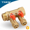 brass ball valve of y-pattern manifold copper manifold with long flow meter