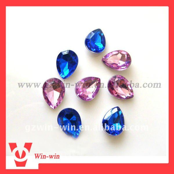 point back tear drop acrylic rhinestone for garments/hats/shoes/jewelry