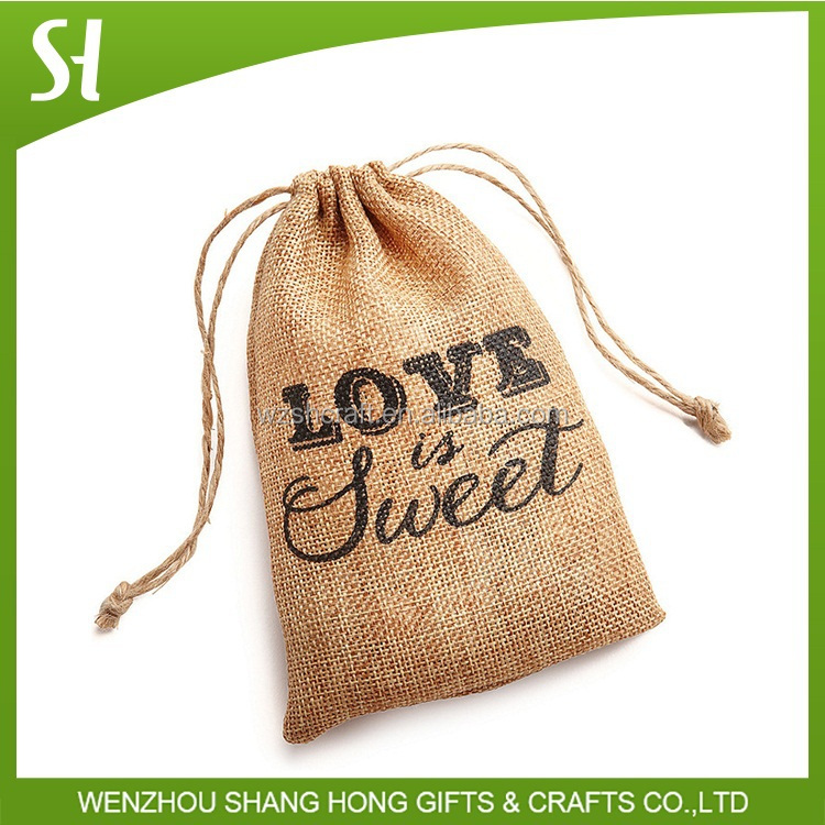 jute material custom printed jewelry pouches bag