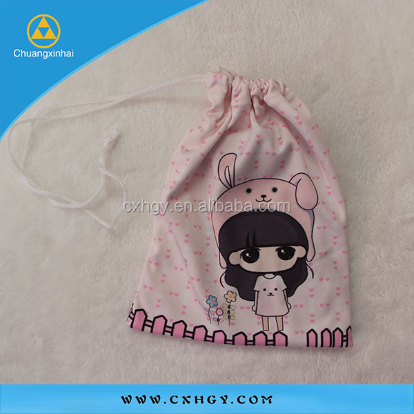 Promotional phone accessory drawstring microfiber cellphone pouch