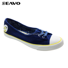 SEAVO SS18 bulk canvas shoes easy on custom distinctive patterns blue flats casual shoes for girls