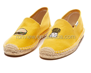 Lady New Embroidery Design Espadrille Canvas Casual Shoe With Jute Sole Manufacture Supplier