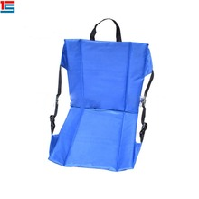 Portable folding stadium seat cushion with backrest