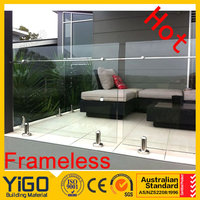 10mm 12mm frameless glass balustrade with certificate/frameless mirror mounting hardware