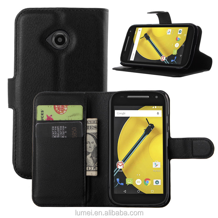 Wallet Leather Case For Motorola Moto E2, Flip Covers With Card Slots For Motorola Mobile Phone