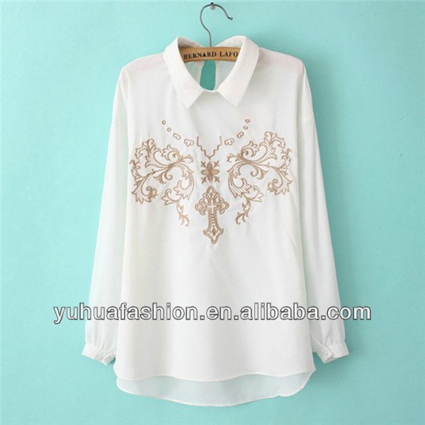 Chest embroidered chiffon shirt,turkish clothes for women