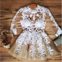 White lace long sleeve transparent party dress sexy summer dress