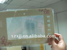 5 button transparent big window with 4 color silk print with black house membrane switch panel