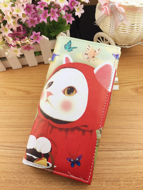 Female Purse Cartoon Pussy Cat Women Printed Brand Wallets Bolsos Carteras Mujer Vintage Portefeuille Femme Clutch BB061-SZ+