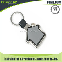 promotion customized 3D house shape keychain with leather for sale