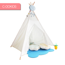 wholesale White natural cotton canvas Indian kids teepee tent