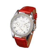 Women Dress Watches Hot Sale Crystal Jewelries Wristwatch Ladies Gift Leather Quartz Analog Watch A709
