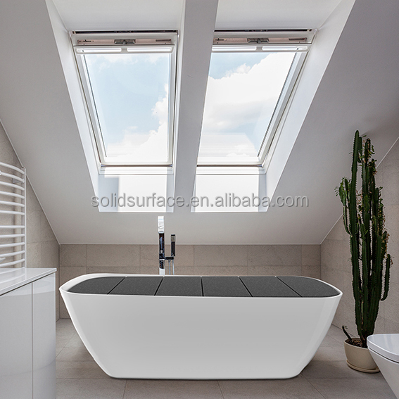 Famous Design Pure White Solid surface Artificial Stone freestanding Bathtub