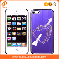 Beautiful double heart brushed metal mobile phone back cover for iphone 5 case